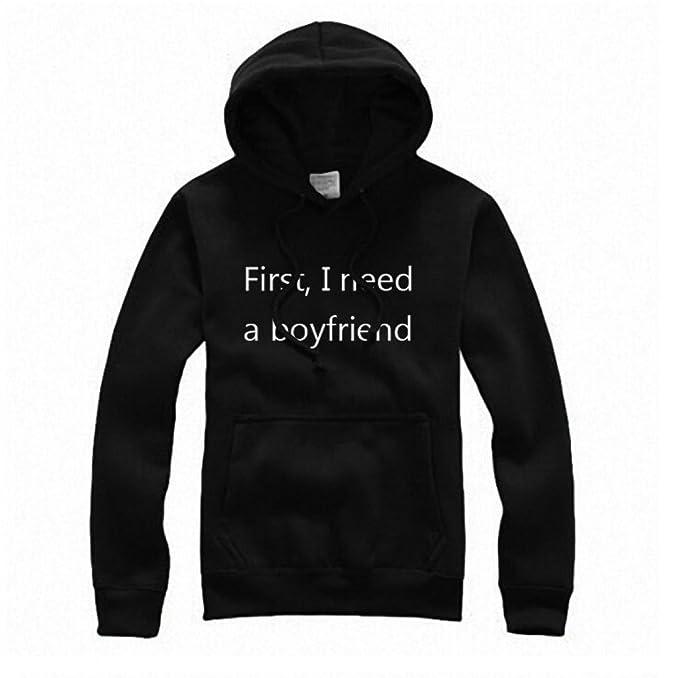 K-youth® Invierno Sudaderas con Capucha Mujer First I Need a Boyfriend Palabra Código Grande Blusa Tops: Amazon.es: Ropa y accesorios