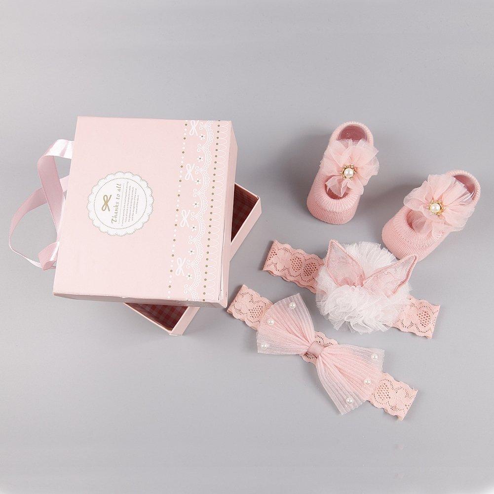 ? BOBORA ? Newborn Baby Girl Organic Anti Slip Socks + Girl's Flower Crown Headbands Sets with Gift Box- Best Baby Shower Gift by BOBORA (Image #2)