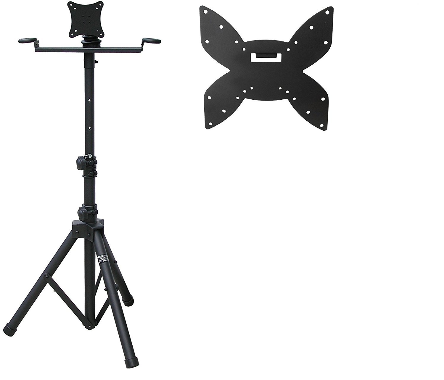 Audio2000'S AST422X Portable Flat Screen Panel LCD LED TV Monitor Stand with 5 Wheels, Including Two Mounting Plates (Compatible with Vesa 400x200, 200x200, 200x100,100x100, 75x75 Hole Patterns) Audio2000'S