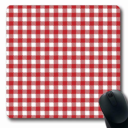 Ahawoso Mousepad Oblong 7.9x9.8 Inches Bakery Check Red Picnic Table Plaid Gingham Retro Abstract Pattern Checker White Vintage Design Office Computer Laptop Notebook Mouse Pad,Non-Slip Rubber