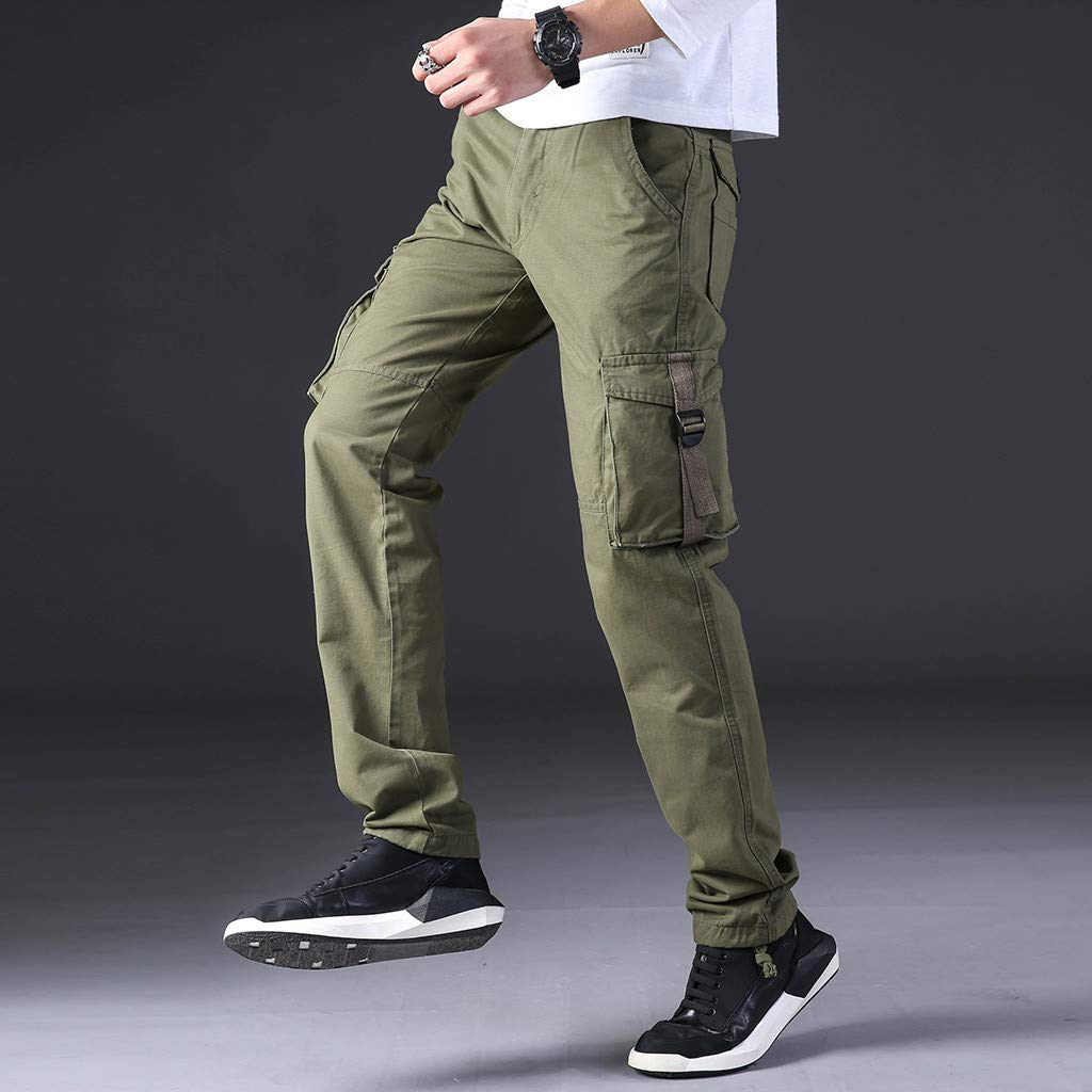 Mens Fashion Multi-Pocket Slim Fit Long Pant Summer Straight Leg Cargo Pants Classic Cargo Overalls
