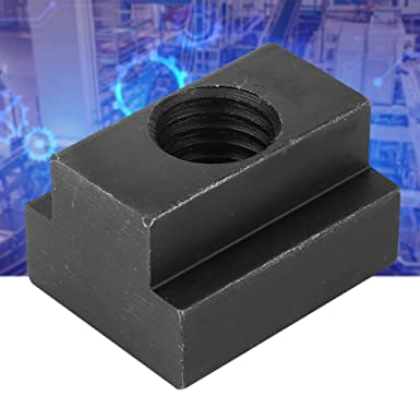 T-Slot Nut 2pcs Practical Carbon Steel T-Slot Nut T-Nut Tapped Through M18 Thread Black for Industrial