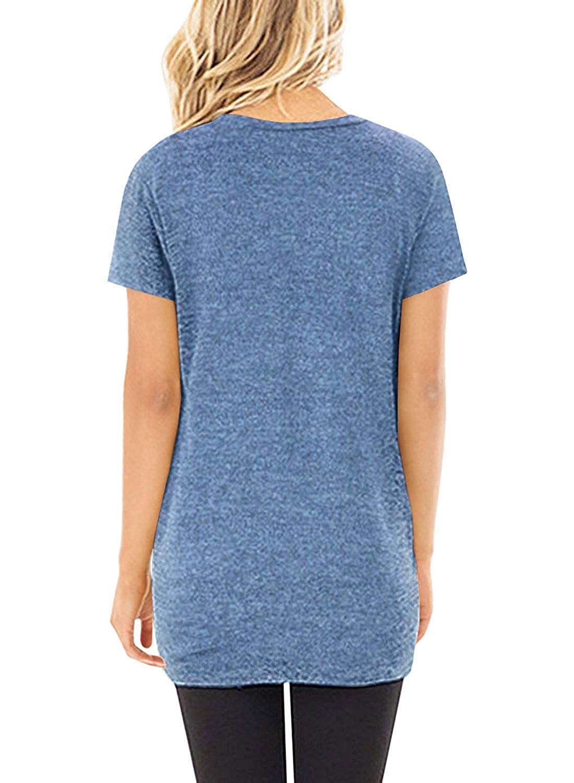 UMIPUBO T-Shirt Donna Twist Tinta Unita Tee Camicetta Casual Girocollo Maglietta Manica Maniche Corta Top Estate Camicia