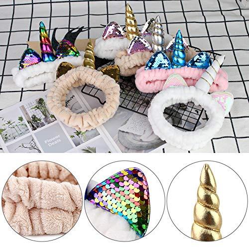 3 otters Makeup Headbands, 6PCS Unicorn Headband Shower Headbands Headwraps for Women Girls