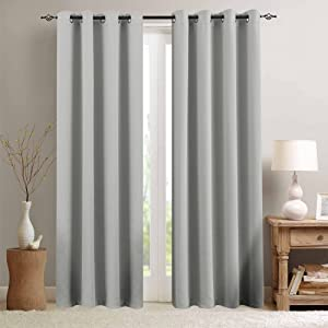 "Grey Curtain 84 inches Long for Living Room Room Darkening Window Curtain Panel for Bedroom Triple Weave Moderate Blackout Drape Grommet Top,52"" W x 84"" L,1 Panel, Gray"