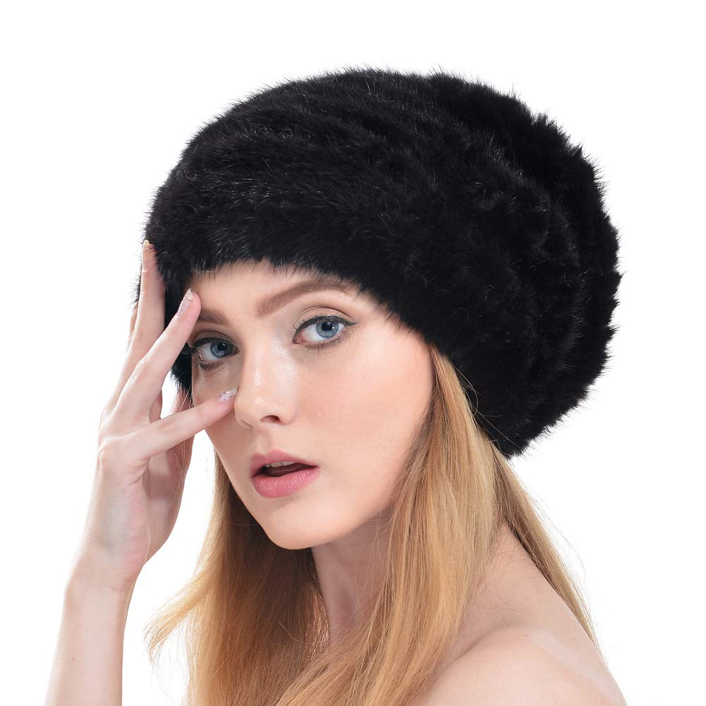 Black Plush Hat Mink Fur Straw Hat Cashmere Beanie Hat European and American Fashion Weaving Warm Earmuffs Spring and Autumn Winter Ladies,Black