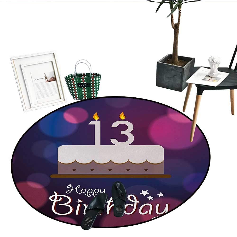 100歳の誕生日 ノンスリップラウンドラグ 100年 パーティーカップケーキ キャンドル 抽象的な鮮やかな色の背景 リビングダイニングルーム ベッドルームラグ (直径24インチ) ピンク レッド オレンジ D24