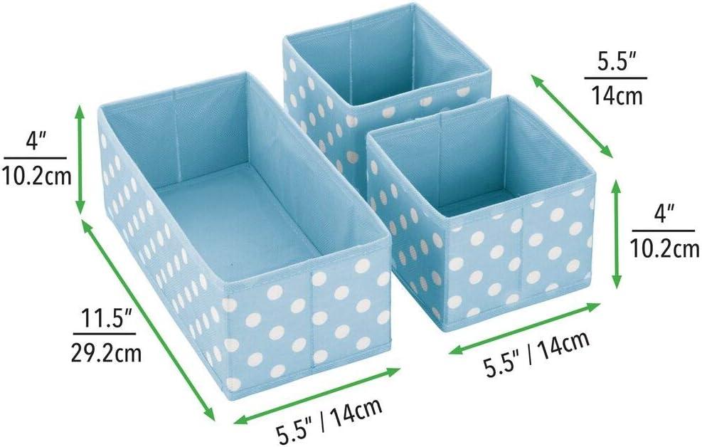 Organizadores de armarios de fibra sint/ética en dos tama/ños ba/ño Cestas organizadoras de lunares azul claro//blanco mDesign Juego de 3 cajas de almacenaje para habitaci/ón infantil etc