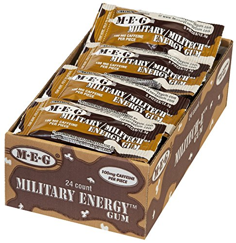 MEG – Military Energy Gum | 100mg of Caffeine Per Piece + Increase Energy + Boost Physical Performance + Cinnamon 24 Pack (120 Count)