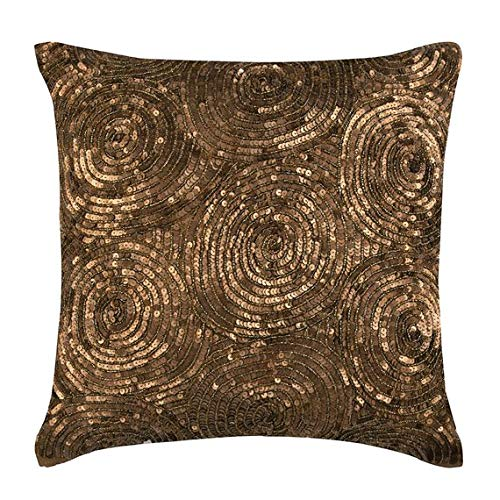 (Gold Pillow Covers 16x16 inches, Designer Gold Throw Pillows Cover for Couch, Spiral Sequins Pillows Cover, Decorative Square Silk Throw Pillows Cover, Geometric Modern Pillow Covers - Golden)