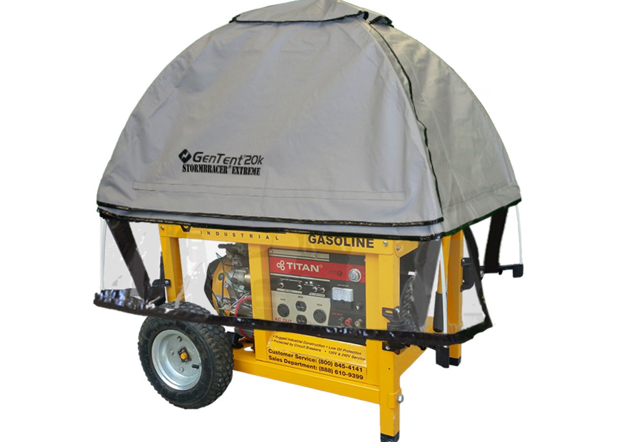 GenTent 20k Generator Tent Running Cover - Universal Kit (Extreme) - Compatible with10000w+ Portable Generators (GreySkies) by GenTent Safety Canopies