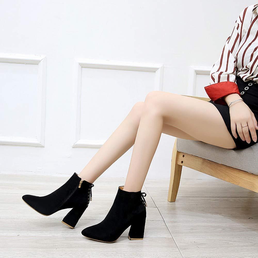 ZHRUI Schuhe Stiefel Damen Mode Mode Mode Damenstiefel Spitzkopf Dicker Boden Martin Stiefel Klassische Stiefeletten Kurze Stiefel Outdoor Stiefel Kurzschaft British Stil (Farbe   Schwarz Größe   37 EU) bc3f1b
