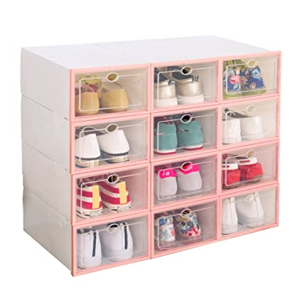 Drop Front Shoe Box Suitable For Dormitory 12 Pack, Pink