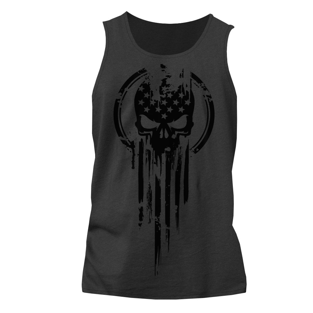 American Warrior Flag Skull Military Tank Top XX-Large Heavy Metal
