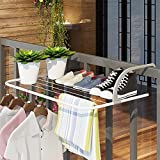 $29.99GeLive Foldable Laundry Drying Rack Shoes Clothes Airer Towel Hanger for Balcony Window Bathroom Guardrail