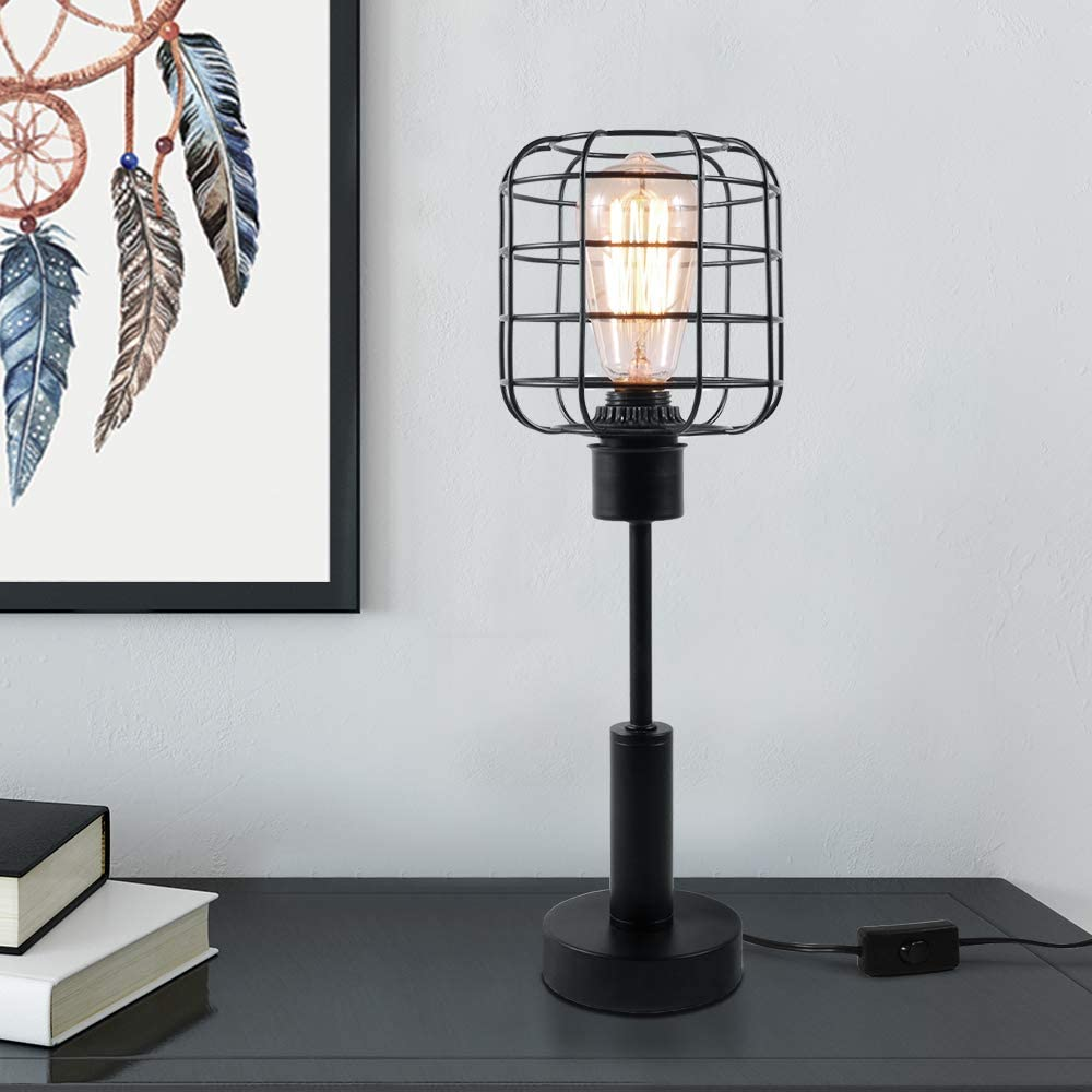 Edison Desk Lamp, Black Metal Table Lamp, Industrial nightstand Lamp for Dressers, College Dorm, Coffee Table, Night Light Home Decor