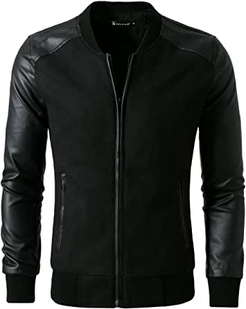 uxcell Men Rib Knit Collar Ribbed Cuff Leather Splice Jacket S Black