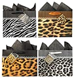 Animal Print Gift Bags with Tissue Paper