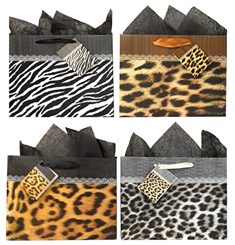 Animal Print Gift Bags with Tissue