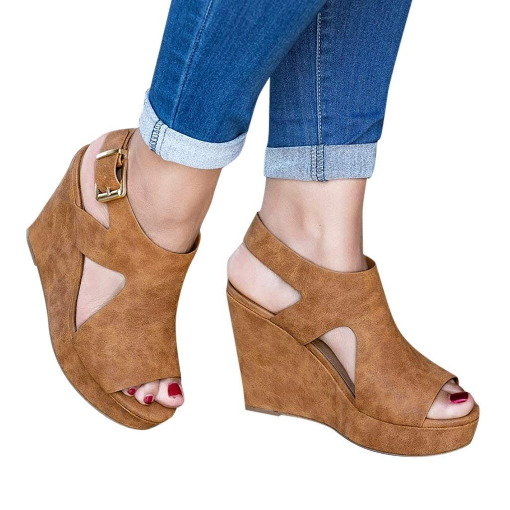 Ladies Sandals Bummyo Summer Women Wedge Platform Sandals High-Heeled Casual Shoes Fashion Concise Elegant Sandals (5.5M US, Brown)