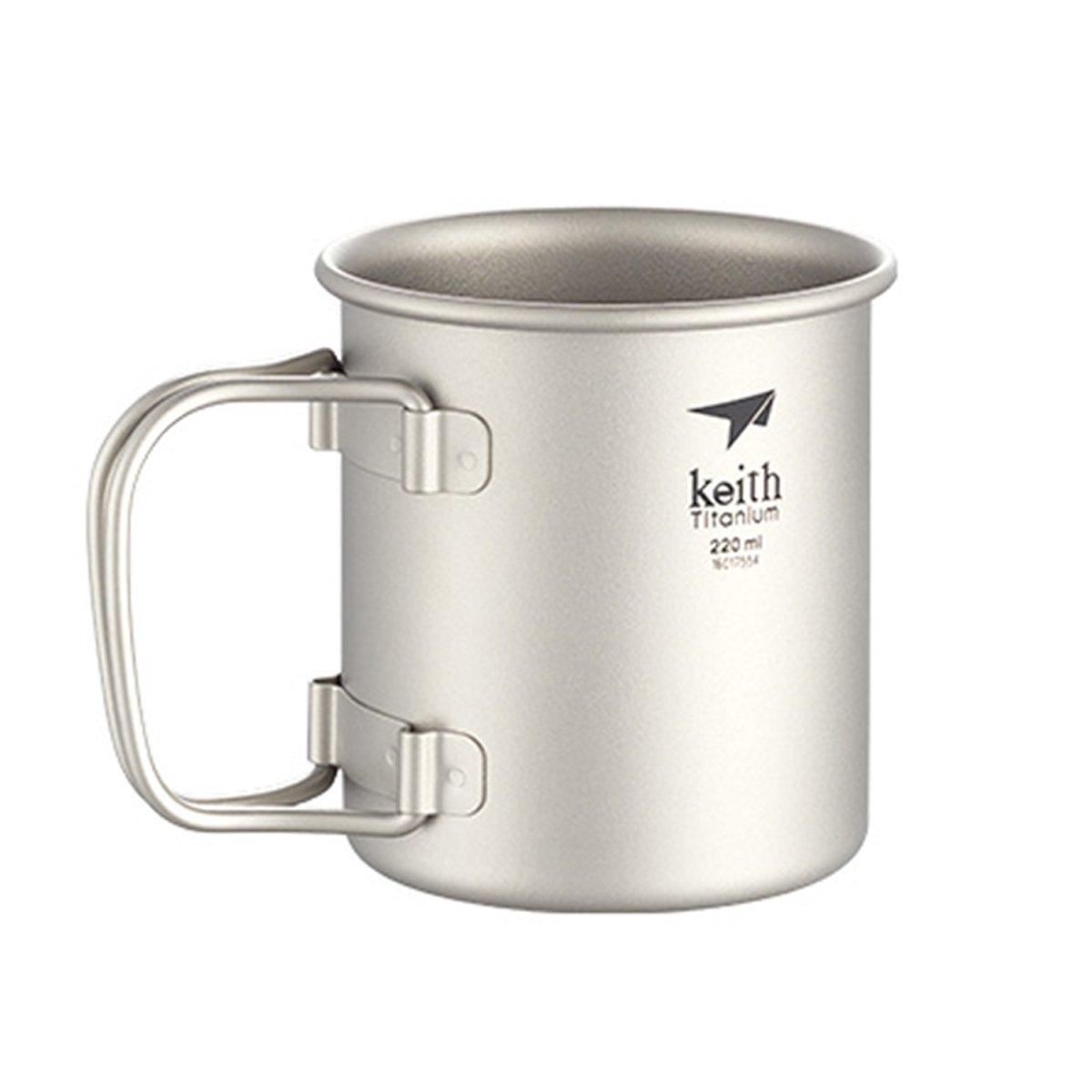 Keithチタンti3203 single-wall Mug with Foldingハンドルと蓋 – 13.5 FL OZ   B01IT1NIPA
