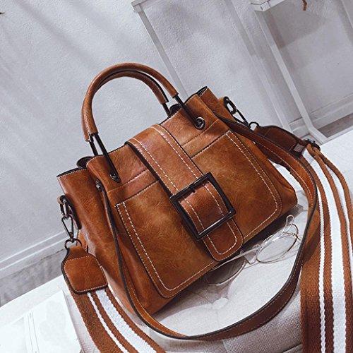 Kimloog Women's PU Leather Shoulder Cross Body Bags Multi Purpose Retro Tote Handbags (Brown) by Kimloog-bags (Image #3)