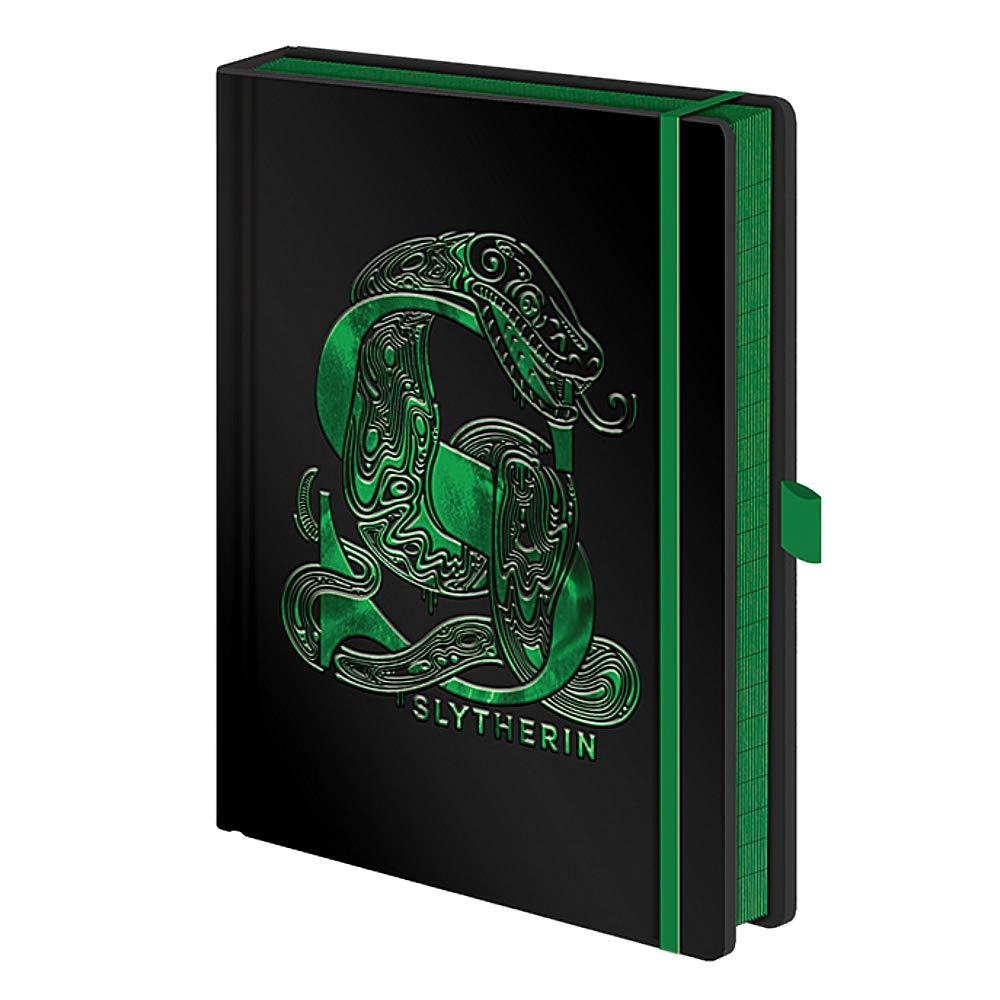 Echte Harry Potter Slytherin Hausfolie A5 Premium gebundenes Buch Notizbuch Notizbuch Hogwarts