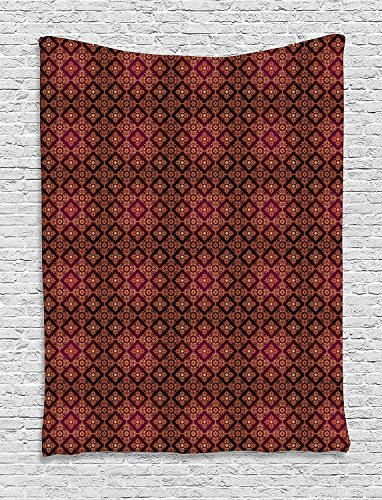 XHFITCLtd Damask Tapestry, Abstract Floral Pattern with Medieval Design Ornamental Victorian Image, Wall Hanging for Bedroom Living Room Dorm, 60 W X 80 L Inches, Orange Magenta - Tapestry Abstract Damask