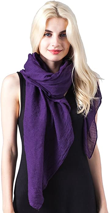 f728a6a046a67 MissShorthair Womens Long Scarf in Solid Color Large Sheer Shawl Wraps for  Evening