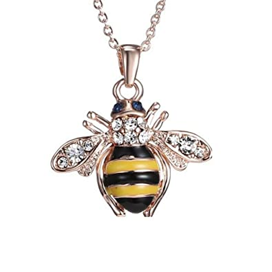 Amazon senfai 18k rose gold plated crystal honey bee pendant senfai 18k rose gold plated crystal honey bee pendant necklace 16 inches aloadofball Images
