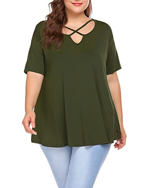 6c5468f74bf Kancystore Short Sleeve Plus Size T Shirt Women Deep V-Neck Top Shirts L  Army