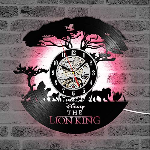 ZhangXF Cartoon Lion King Vinyl Record Wall Clock, LED Luminous Night Light 12 Inch Vinyl Record Clock Best Gift Decoration