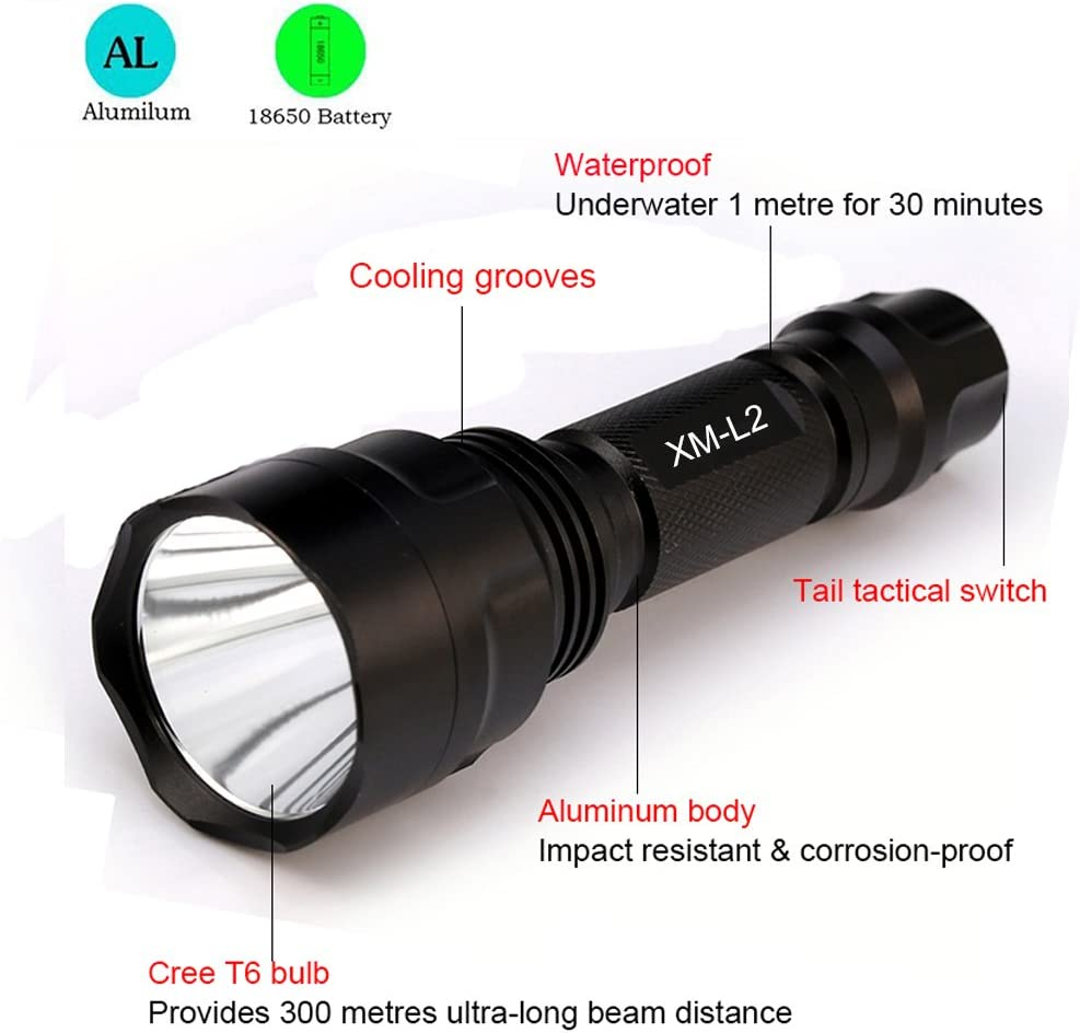 Charger MT 18650 8000LM XM-L T6 Zoomable Tactical LED Flashlight Torch Lamp