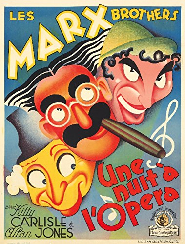 Marx Brothers - Une Nuit a l'Opera Vintage Poster (artist: Anonymous) Belgium c. 1935 (12x18 SIGNED Print Master Art Print w/ Certificate of Authenticity - Wall Decor Travel Poster) (Poster Marx Brothers)