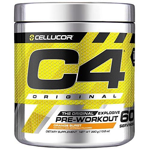 Cellucor C4 Original Pre Workout Powder Energy Drink Supplement For Men & Women with Creatine, Caffeine, Nitric Oxide Booster, Citrulline & Beta Alanine, Orange Burst, 60 Servings