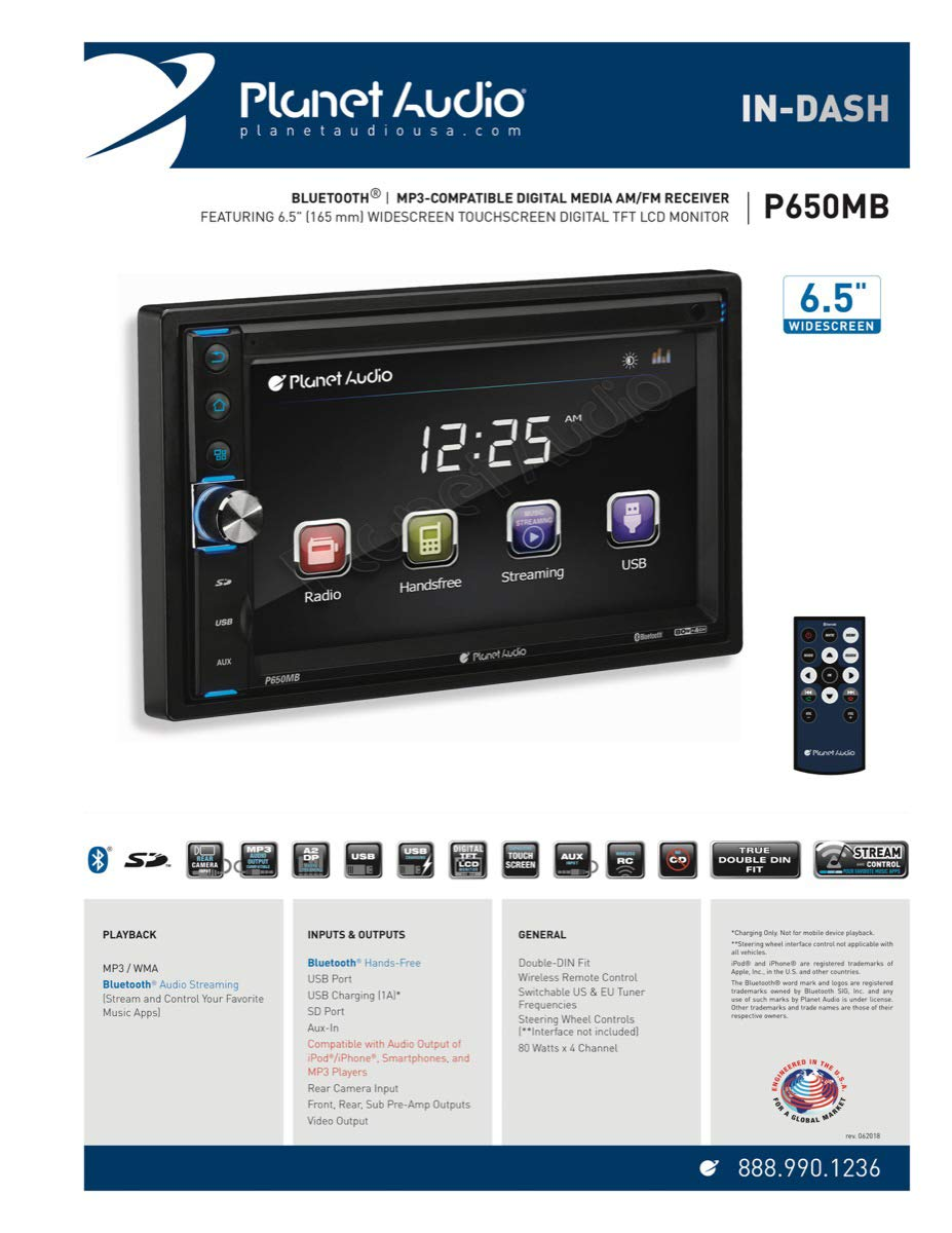 Planet Audio P650mb Double Din Touchscreen Bluetooth Boss Car Stereo Wiring Harness Adapters Mp3 Usb Sd Am Fm No Cd Dvd 65 Inch Digital Lcd Monitor Wireless Remote