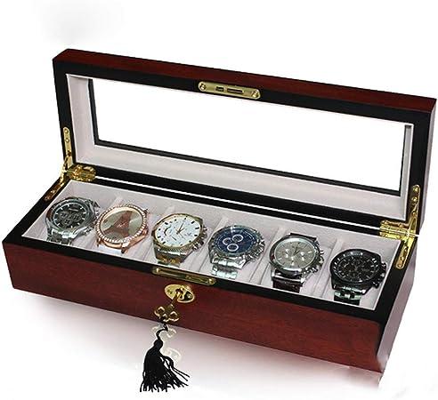Estuche para RelojesMadera 6 Reloj Caja De Viaje Seguro Caja De RetencióN Pulsera De Almacenamiento Organizador De La ExhibicióN De Joyas, Mejor Regalo Para Hombres, Mujeres,Rojo: Amazon.es: Hogar