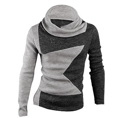 Amazon.com: Men Cowl Neck Pullover Star Pattern Color Block Knit ...