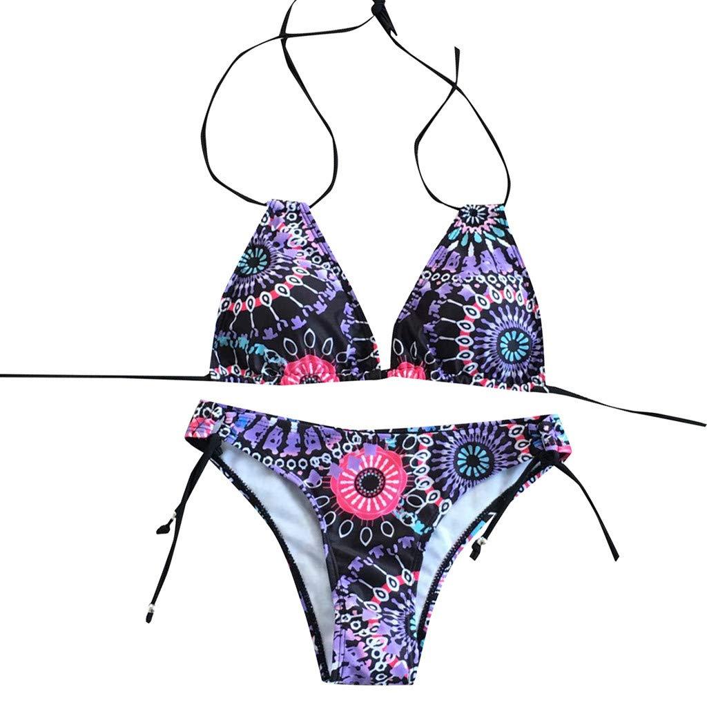 XuxMim Frauen Blumendruck Bikini Set Schwimmen Badeanzüge Badeanzug Badeanzug