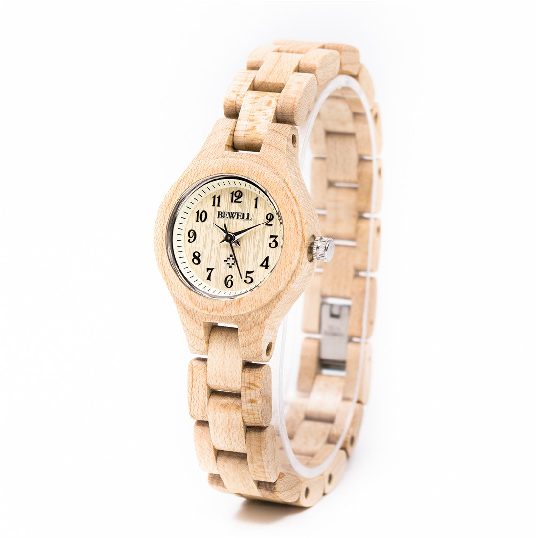 Bewell Cute Light Weight Wood Students Girls Watch Quartz Movement Women's Slim Wooden Wrist Watches