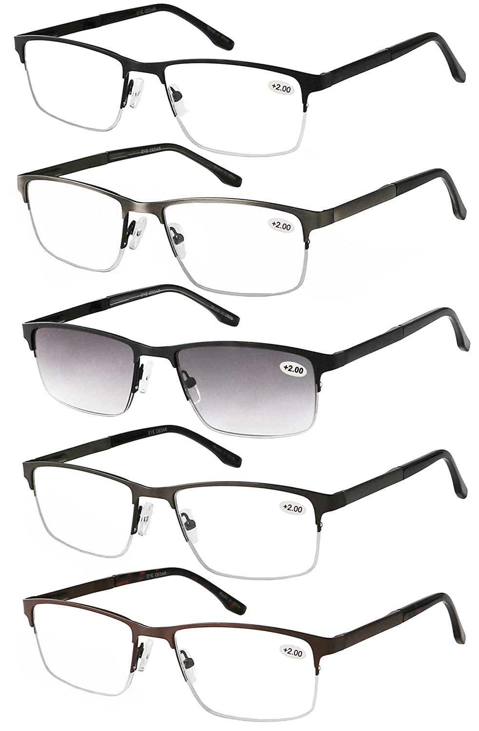 7f79c7e33e3 Amcedar 5-Pack Half-Frame Reading Glasses Men Rectangle Style Stainless  Steel Material Spring Hinges Readers +2.00  Amazon.co.uk  Health   Personal  Care