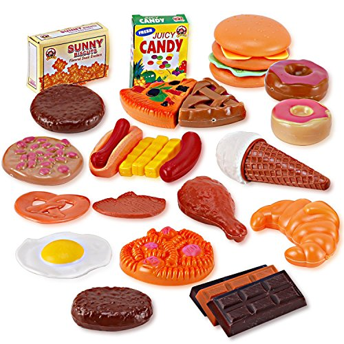 Liberty Imports Fast Food & Dessert Mini Play Food Cooking Set for Kids - 30 pieces (Burgers, Donuts, Ice Cream, & more)