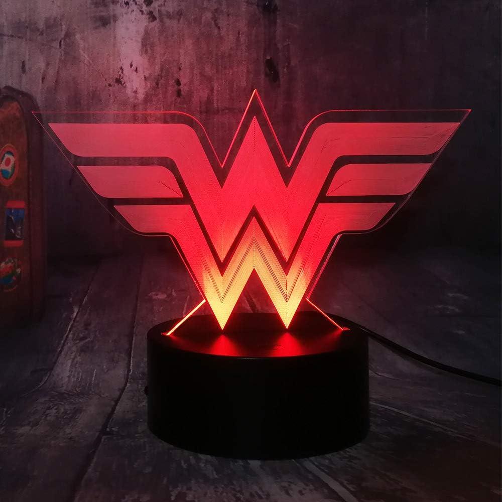 Cool DC Comics Wonder Woman Logo 3D LED Night Light Superhero Justice League Remote Desk Lamp Home Bedroom Decor Christmas Gift for Girls Kids Toys(Wonder Woman)