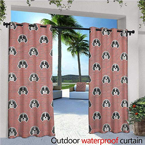 warmfamily Dog Indoor/Outdoor Single Panel Print Window Curtain Beagle Puppy Squares Silver Grommet Top Drape W120 x L96