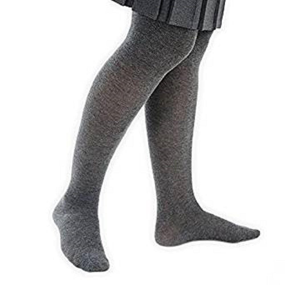 Baby Girls Cotton Rich Grey Plain Nifty Style Tights