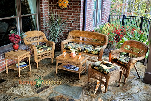 Tortuga Portside 6 Piece Wicker Outdoor Seating Set, Amber Wicker, Callie Coffee Fabric (Porch Furniture Sale)