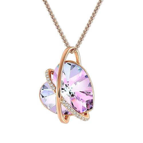 f10bf7a204e9 GEORGE · SMITH ❤Eco del Amor❤ Collar Corazón Cristal Púrpura para Mujer  Collar Amor Oro Rosa con Cristales de Swarovski, Collar Mujer Regalos ...