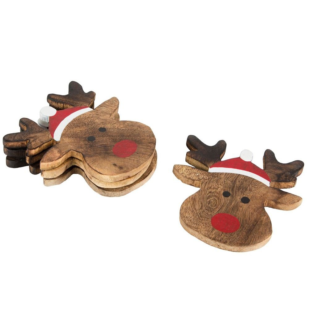 Set of 4 Rudolph The Reindeer Coasters: Amazon.co.uk: Kitchen & Home
