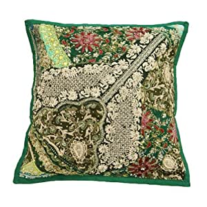 Patchwork Pillow Case Handmade Beaded Braid Green Home Decor Cushion Cover Throw India 16'' Inches
