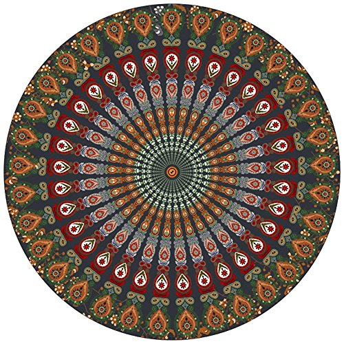 Resulzon Indian Mandala Hawaii Sunproof Round Beach Throw Tapestry Hippy Boho Gypsy Tablecloth Beach Shawl 60 Inches - Orange by Resulzon